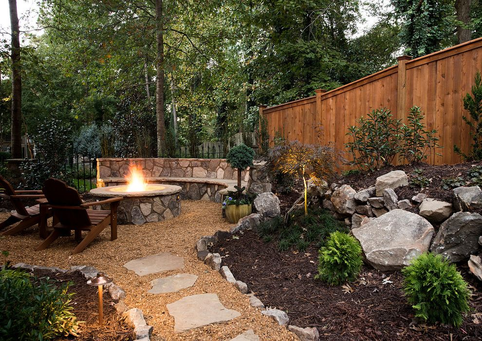 Lowes Arnold Mo   Rustic Landscape Also Built in Bench Outdoor Firepit Stone Bench Stone Pathway Wood Armchairs