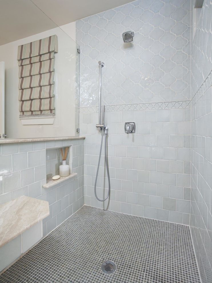 Lowes Arnold Mo   Transitional Bathroom  and Arabesque Tile Bathroom Remodel Floating Shower Bench Frameless Shower Glass Gray Mosaic Shower Base Handshower Pale Blue Pony Wall Recessed Wall Niche Square Tile Striped Roman Shades