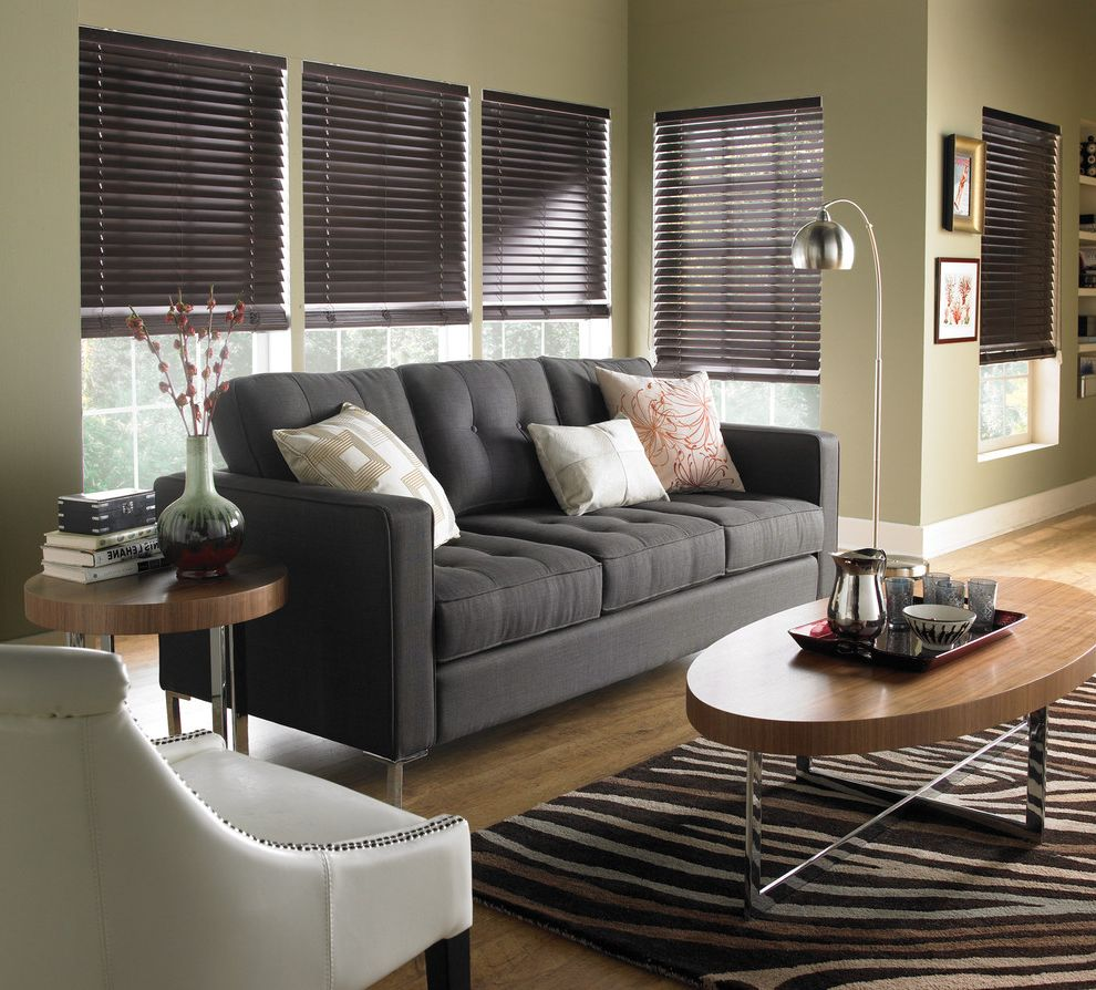 Lowes Avondale Pa   Contemporary Living Room  and Blinds Coffee and Side Tables Couch Seating Curtains Horizontal Blinds Horizontal Wood Blinds Lamp Pillow Roman Shades Rug Shades Shutter Window Blinds Window Coverings Window Treatments Wood Blinds