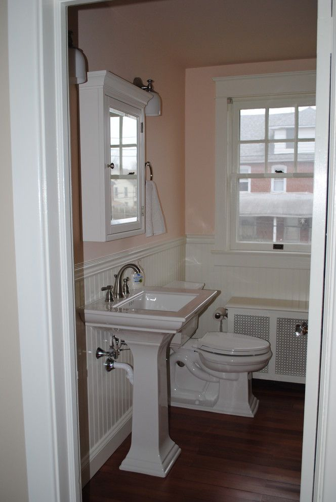 Lowes Avondale Pa   Traditional Bathroom Also Beadboard Kohler Memoir Lowes Pedestal Sink Pink Small Bath