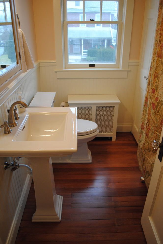 Lowes Avondale Pa   Traditional Bathroom  and Beadboard Kohler Memoir Lowes Pedestal Sink Pink Small Bath