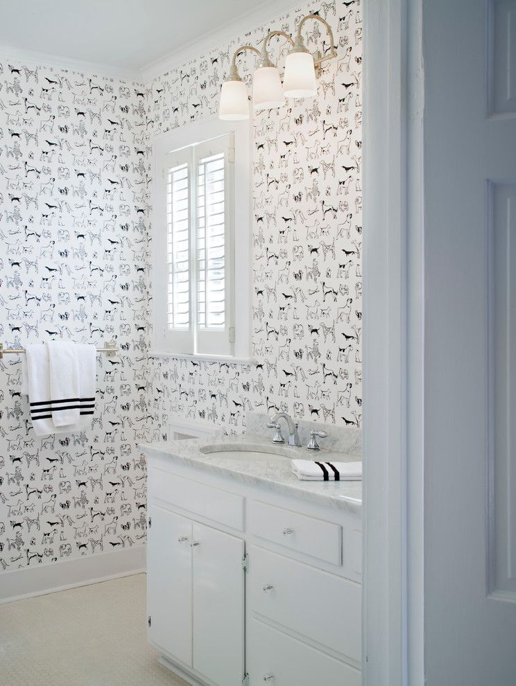 Lowes Baton Rouge   Traditional Bathroom  and Baton Rouge Colonial Dog Wallpaper Louisiana Revived Colonial Triple Wall Sconce White Countertop White Floor Tile White Shutters