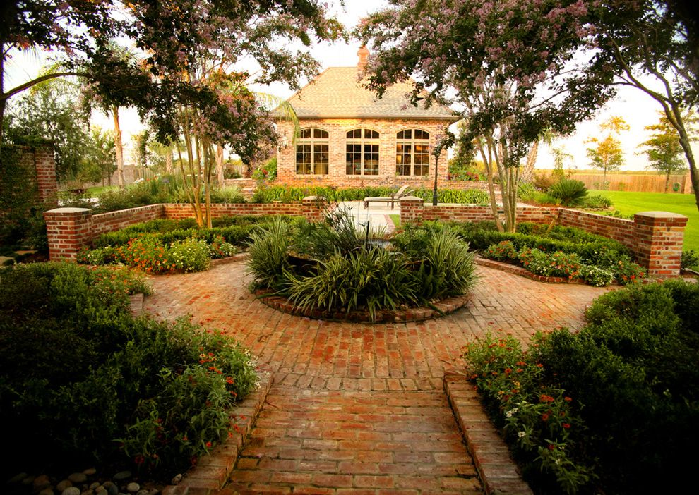 Lowes Baton Rouge   Traditional Patio  and Arched Window Brick Brick Path Brick Wall Flowerbed French Window Garden House Path