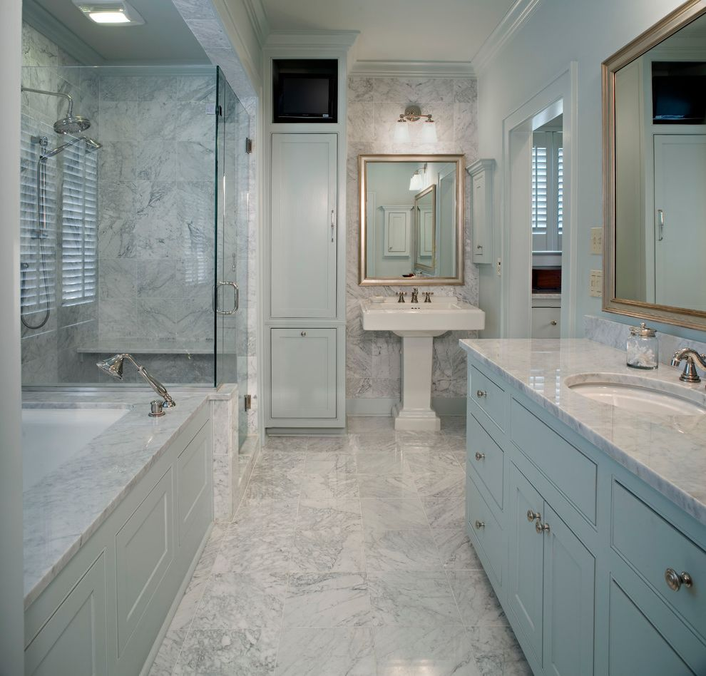 Lowes Baton Rouge with Traditional Bathroom Also Baton Rouge Colonial Double Wall Sconce Glass Shower Large Tub Louisiana Marble Revived Colonial Stand Up Shower Standalone Sink Vanity White Floor Tile