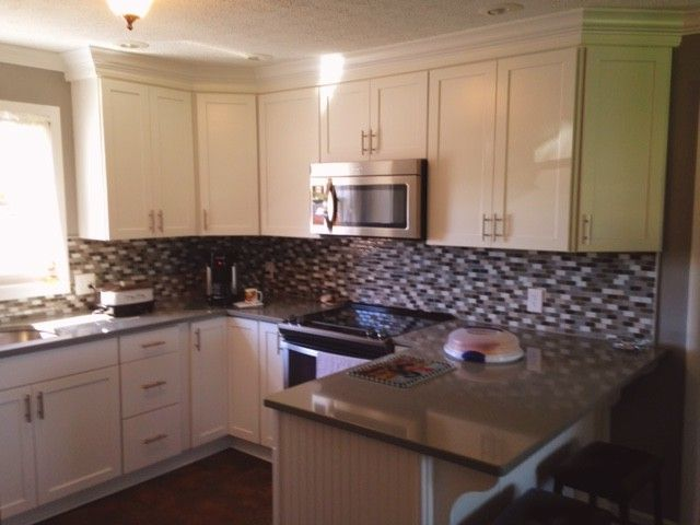 Lowes Beckley Wv   Traditional Spaces Also Backsplash Mosaic Crown Molding Quratz Counter Rescess Can Lighting Shenandoah Cabinets Stainless Steel Appliances Vinyl Flooring
