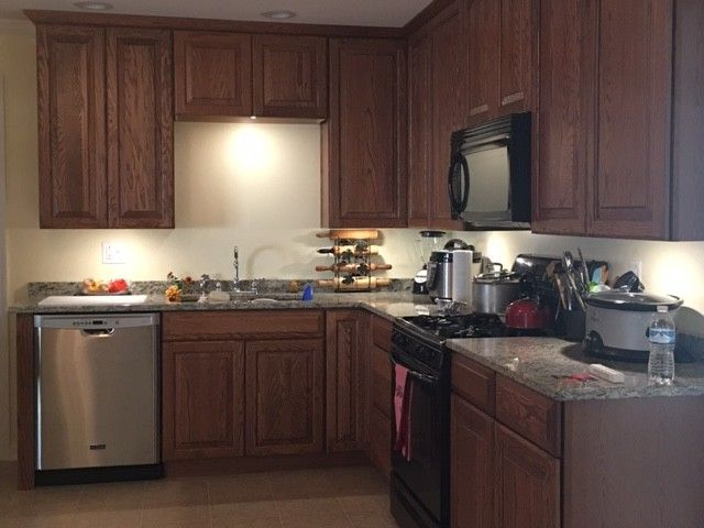 Lowes Beckley Wv   Traditional Spaces Also Crown Molding Drywall Kitchen Appliances Oak Cabinets Recessed Lighting Under Cabinet Lighting Vinyl Flooring
