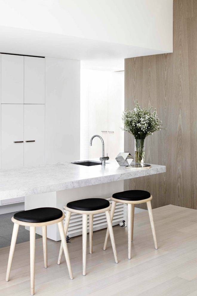 Lowes Brooklyn   Contemporary Kitchen  and Black Seat Stools Black Sink Flower Vase Glamour Hotel Light Wood Counter Stools Low Stools Luxury Mid Arc Faucet Neutral Neutral Kitchen Short Stools
