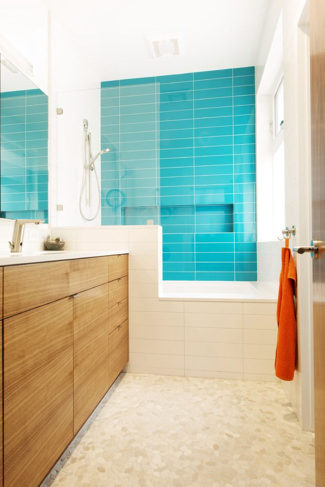 Lowes Brooklyn   Modern Bathroom Also Accent Wall Frameless Shower Divider Shower Tub Shower Window Small Bathroom Towel Hook Turquoise Shower Tile White Tile Wood Cabinets