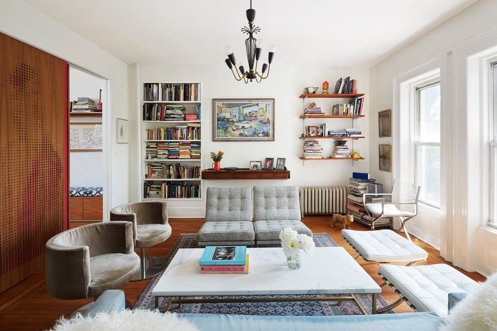 Lowes Brooklyn with Eclectic Living Room Also Built in Bookshelves Framed Art Gray Sofa Open Bookshelves Oriental Rug Tan Armchair