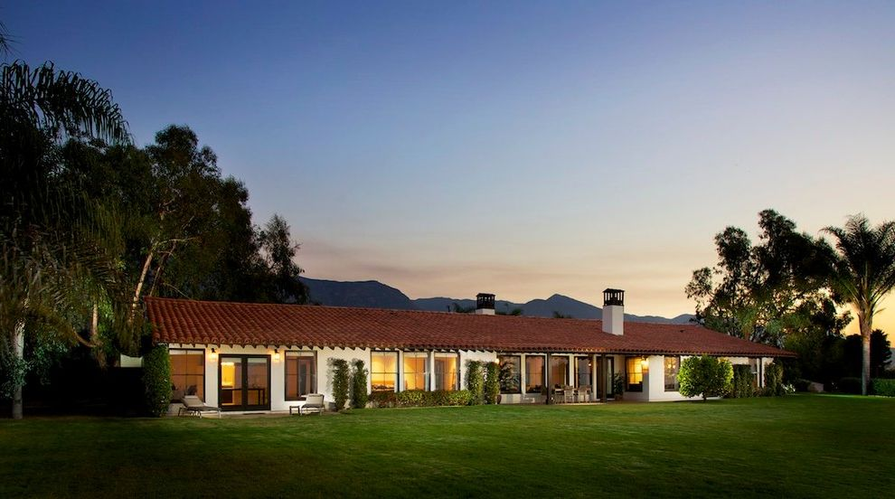 Lowes California Md   Mediterranean Exterior  and Front Interior Lawn Mid Century Modern Modern Mountains Night Light Palm Trees Ranch Remodel Santa Barbara Spanish Colonial Stucco Tile Roof