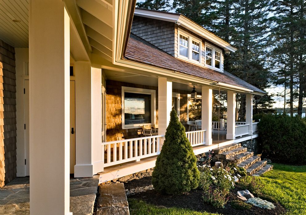 Lowes Cedar Rapids   Beach Style Porch Also Coastal Cottage Home Maine New England Ocean Porch Shingle Summer View