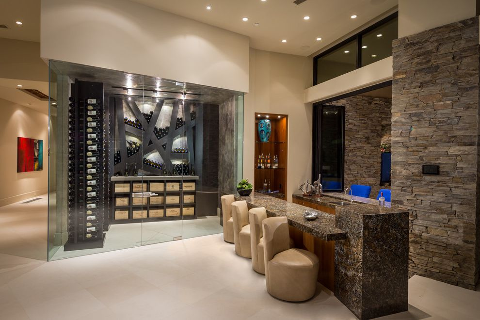 Lowes Chandler Az   Contemporary Wine Cellar  and Bar Seating Custom Shelves Glass Home Bar Tasting Room Wet Bar