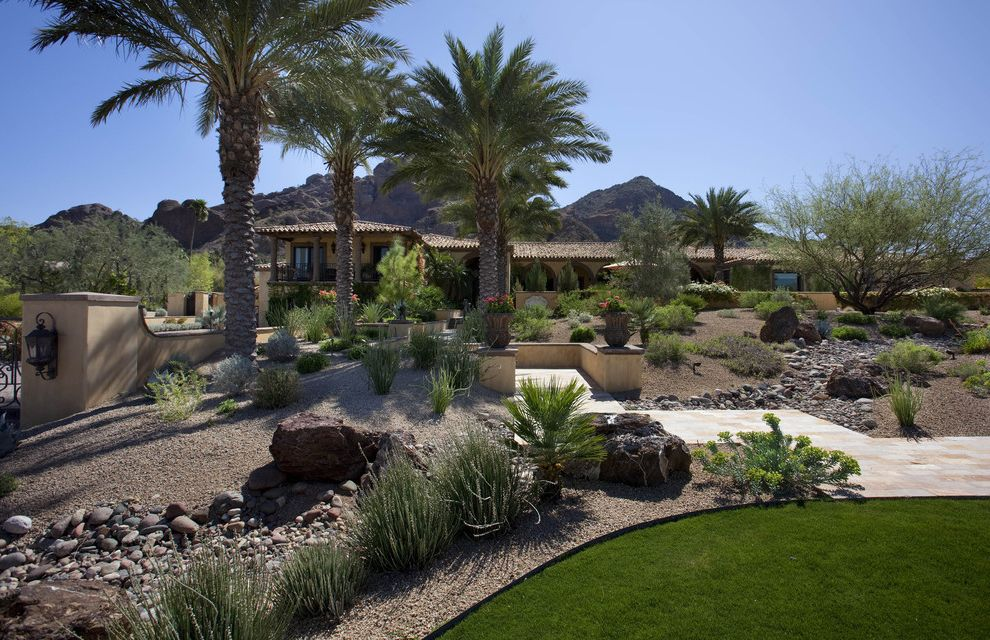 Lowes Chandler Az   Southwestern Landscape Also Boulder Container Plant Desert Dry River Grass Gravel Lawn Palm Tree Path Potted Plant River Rock Rock Seat Wall Turf Walkway