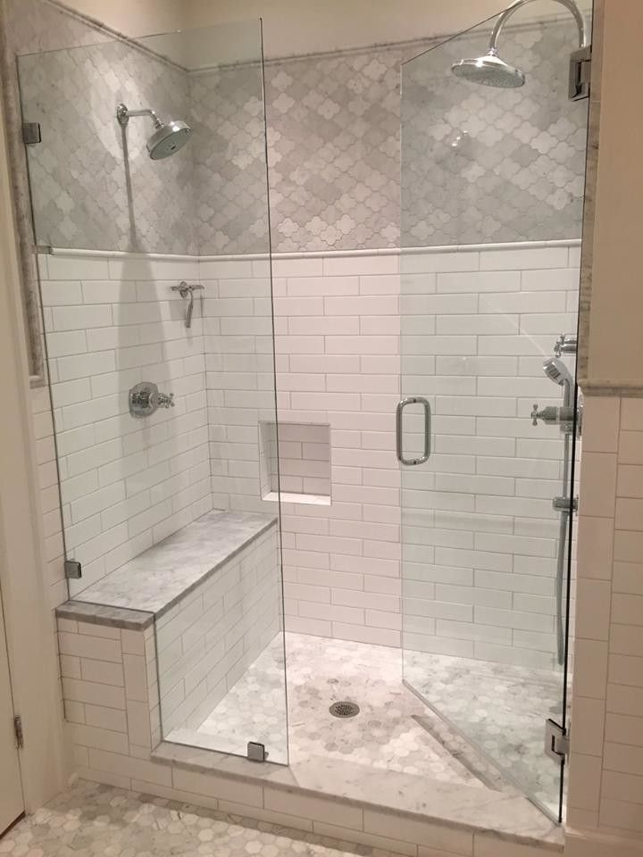Lowes Chattanooga   Shabby Chic Style Bathroom  and Carrara Marble Mosaic Glass Shower Doors Love This Jetset Collection Passport Carrara Mosaic From Walker Zanger Shower Bench Subway Tiles Walker Zanger
