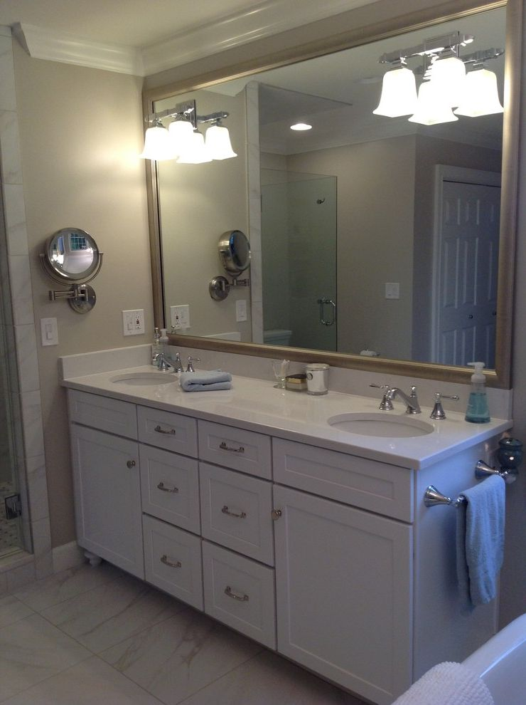 Lowes Chattanooga   Transitional Bathroom Also Benjamin Moore Revere Pewter Classic Cabinetry Delta Cassidy Lighted Makeup Mirror Quartz Countertop Spa Bathroom Tinkers Custom Homeworks White Bathroom