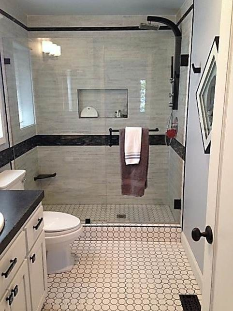 Lowes Chico   Contemporary Bathroom  and Bathroom Black and White Black White Bath Tile Concrete Countertop Contemporary Design Hexagon Tile Schluter Metal Trim