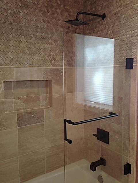 Lowes Chico   Traditional Bathroom Also Basket Weave Tile Frameless Shower Door Holcam Shower Doors Tradtional Design Travertine