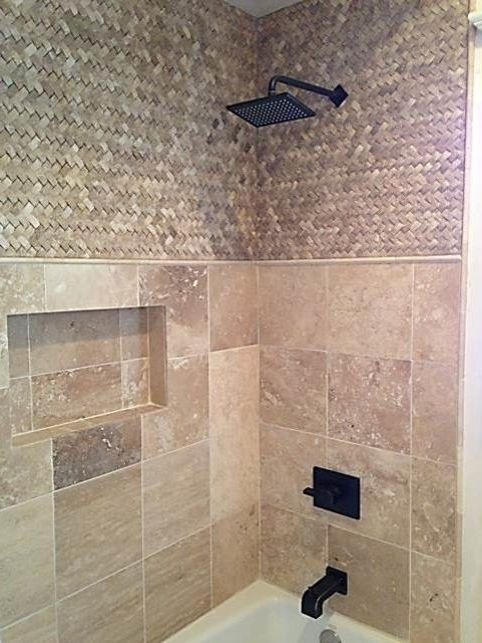 Lowes Chico   Traditional Bathroom  and Basket Weave Tile Bronze Shower Fixtures Shampoo Niche Shower Niche Shower Rain Head Traditional Design Travertine