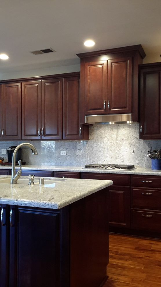 Lowes Chico   Traditional Kitchen Also Acacia Hardwood Flooring Delta Faucet Diamond Cabniets Granite Granite Backsplash Granite Countertop Sensa Granite Stained Wood Cabinetry Wood Cabinets Wooden Kitchen Cupboards