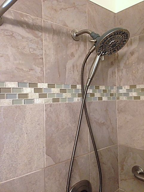 Lowes Chico   Transitional Bathroom  and Delta Nura Shower Faucet Delta Shower Faucet Porcelain Shower Tiles