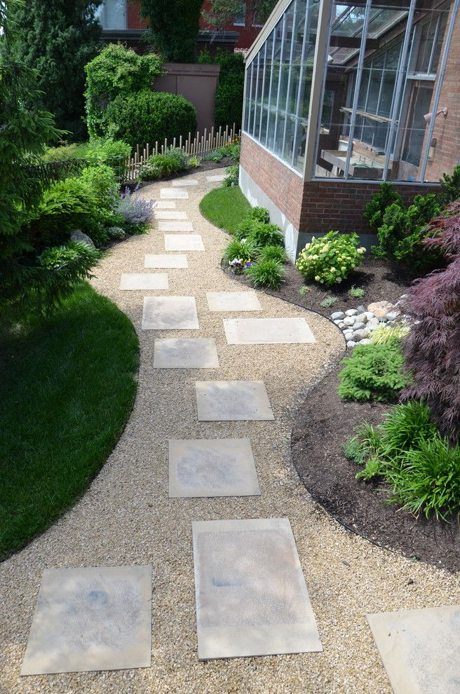 Lowes Cincinnati   Contemporary Landscape Also Back Yard Concrete Stepping Stones Contemporary Decorative Gravel Gravel Lawn Pathway Pavers