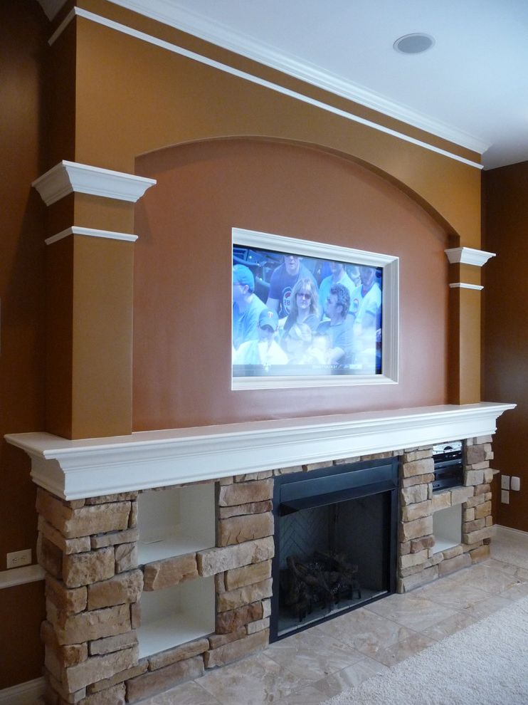Lowes Cincinnati   Traditional Basement Also Built in Cincinnati Fireplace Flat Screen Interior Mantle Masonry Over Fireplace Remodeling Stone Fireplace Tv with Niche