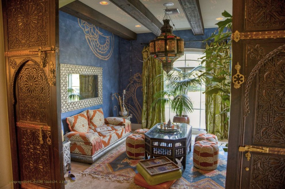 Lowes Clearwater   Mediterranean Living Room Also Authentic Furniture From Morocco Carved Doors Flanked Orginal Arched Open Colorful Custom Drapes Ethnic Family Room Henna Wall Design Italian Plaster Wall Finish Moroccan Rugs From Morocco Tea Room