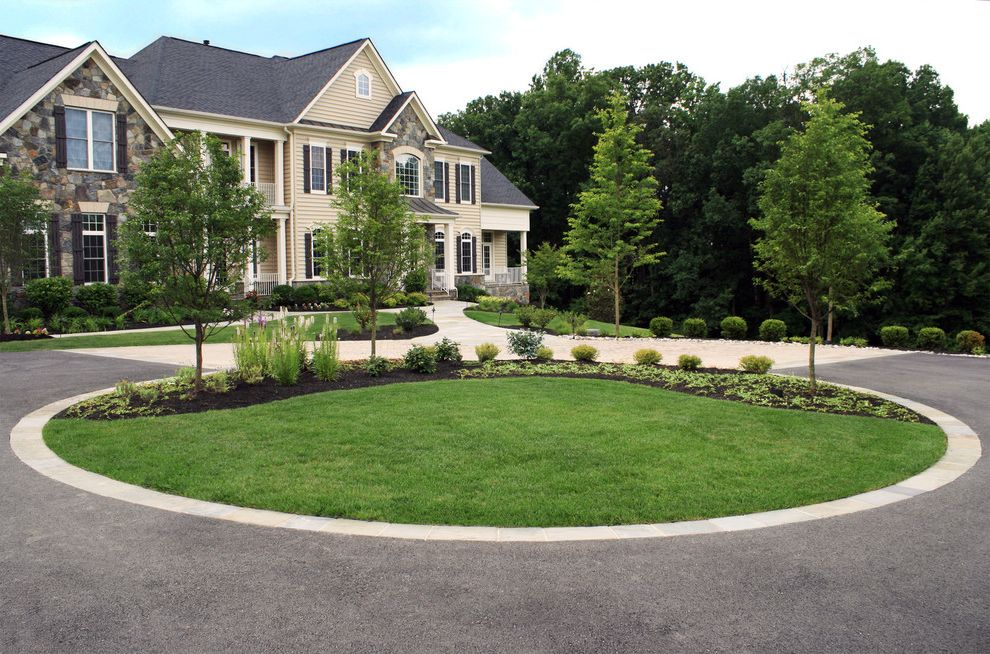 Lowes Clearwater with Contemporary Landscape  and Driveway Circle Driveway Island Landscape Front Yard Landscaping