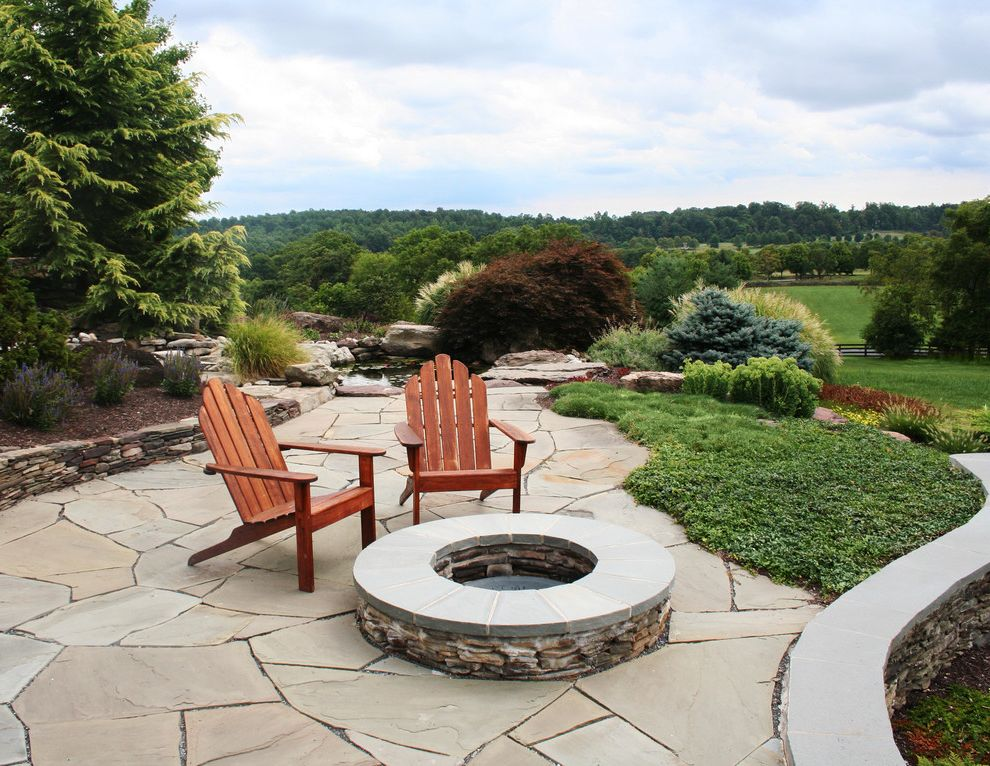 Lowes Clearwater with Traditional Patio  and Adirondack Chairs Backyard Fire Pit Flagstone Ground Cover Patio Furniture Stacked Stone View