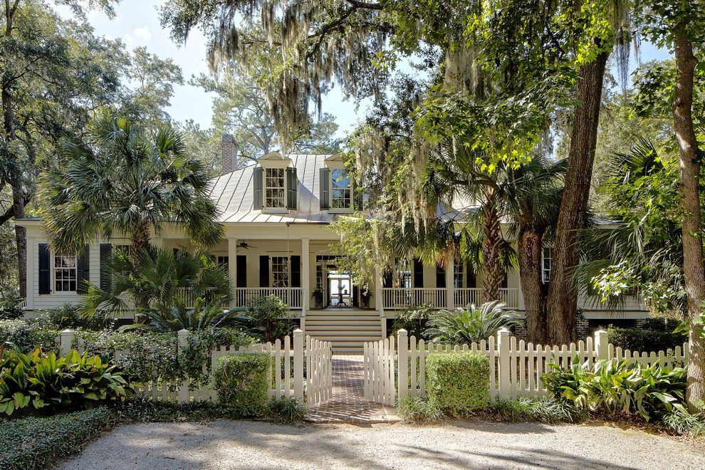 Lowes Conway Sc   Traditional Exterior  and Brick Classical Door Dormers Landscape Walls Lowcountry Home Metal Roof Picket Fence Shutters