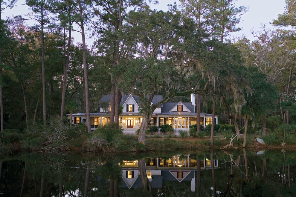Lowes Conway Sc   Tropical Exterior  and Black and White Carpenter Gothic Gables Lap Siding Metal Roof Pond Rear Porch Screened Porch Shutters Waterfront White Exterior