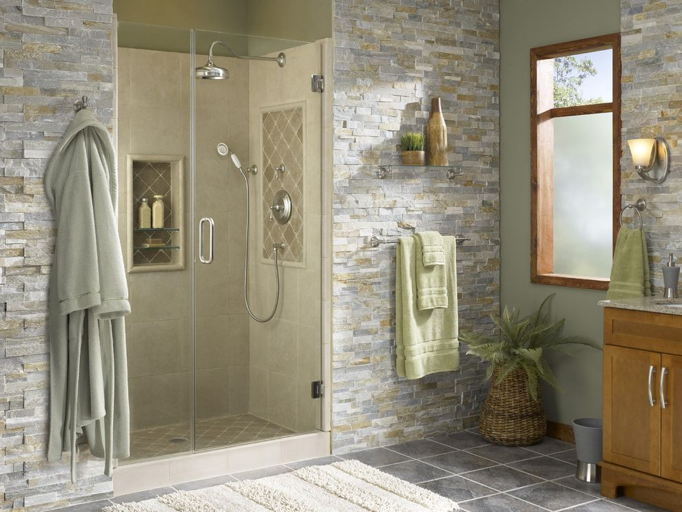 Lowes Conway Sc with Tropical Bathroom  and Bathroom Bathroom Lighting Bathroom Shelf Floor Tile Flooring Freestanding Vanity Glass Shower Doors Sconce Shower Showerhead Stone Tile Tile Wall Tile Window Trim Wood Wood Trim