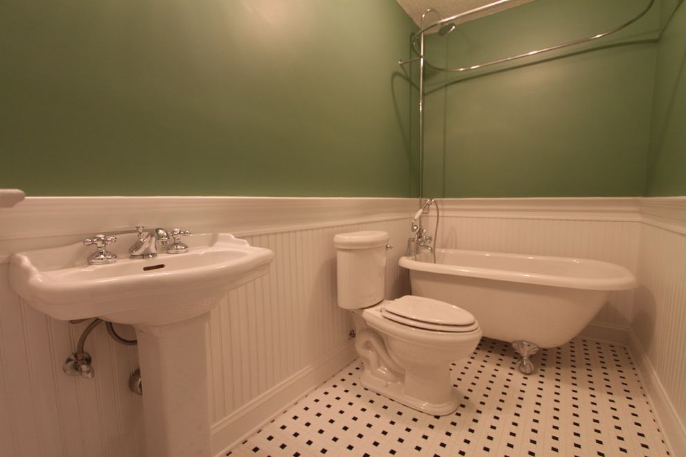 Lowes Derby Ct   Traditional Bathroom  and American Bath Factory Classic Tile Claw Foot Tub Pedestal Sink Wainscoting