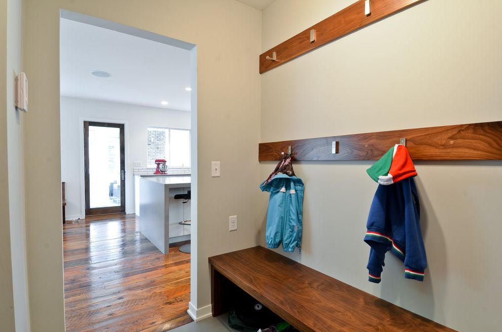 Lowes Derby Ks   Contemporary Entry Also Clothes Storage Coat Hooks Entry Bench Mudroom Wood Bench Wood Flooring