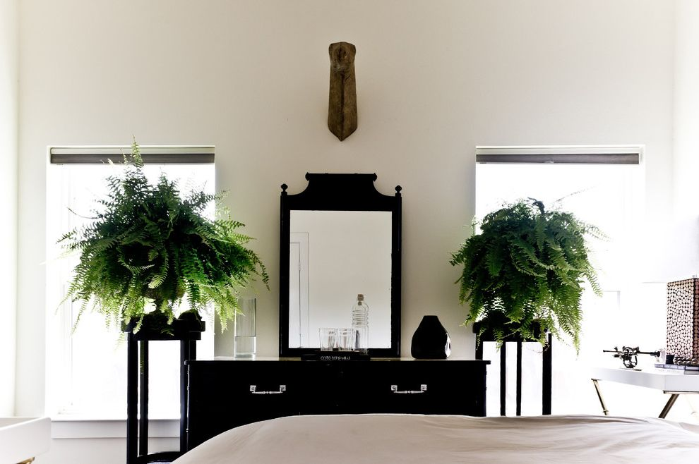 Lowes Derby Ks   Victorian Bedroom Also Black and White Chest of Drawers Dresser Ferns House Plants Mirror Neutral Colors Pedestal Vanity Wall Decor