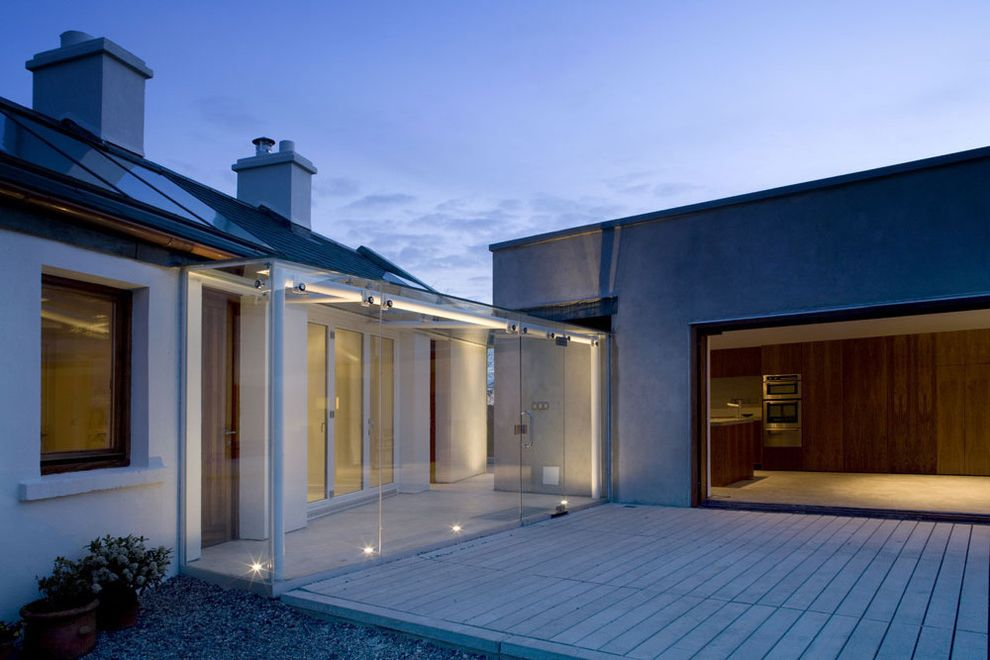 Lowes Dublin   Contemporary Exterior  and Chimney Concrete Cottage Glass Wall Glazed Doors Gravel Living Block Minimal Open Plan Patio Rooflights Shed