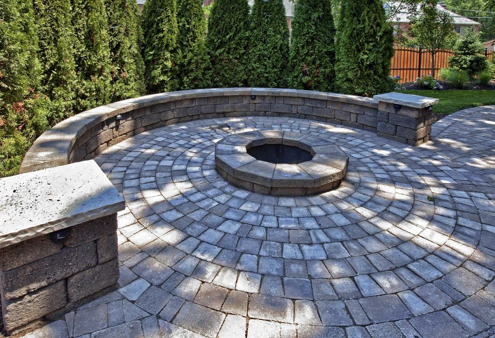 Lowes Dublin   Traditional Patio Also Built in Lighting Circular Patio Fire Pit Garden Wall Hedge Landscape Lighting Lawn Pavers Redwood Fence Seating Wall Shady Stone Cap