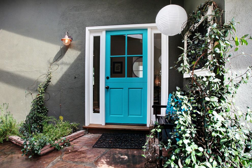 Lowes Dublin   Transitional Entry  and Doormats Dutch Door Entry Bench Gray Stucco Lantern Sidelights Turquoise Front Door