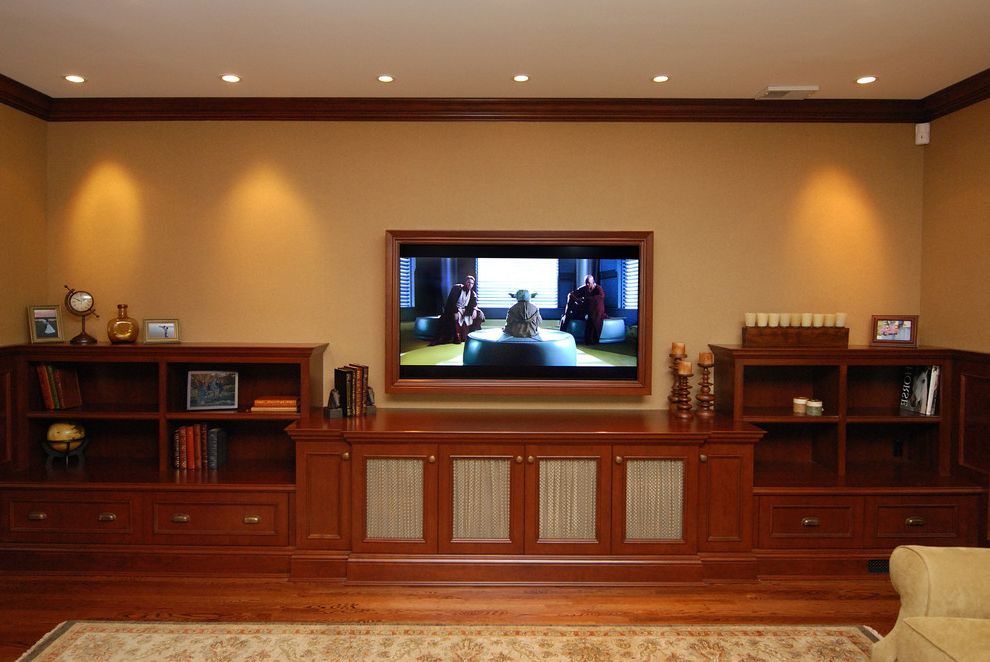 Lowes Durant Ok with Traditional Home Theater  and Area Rug Bookcase Bookshelves Built in Shelves Ceiling Lighting Crown Molding Media Center Oriental Rug Recessed Lighting Storage Wood Flooring Wood Trim