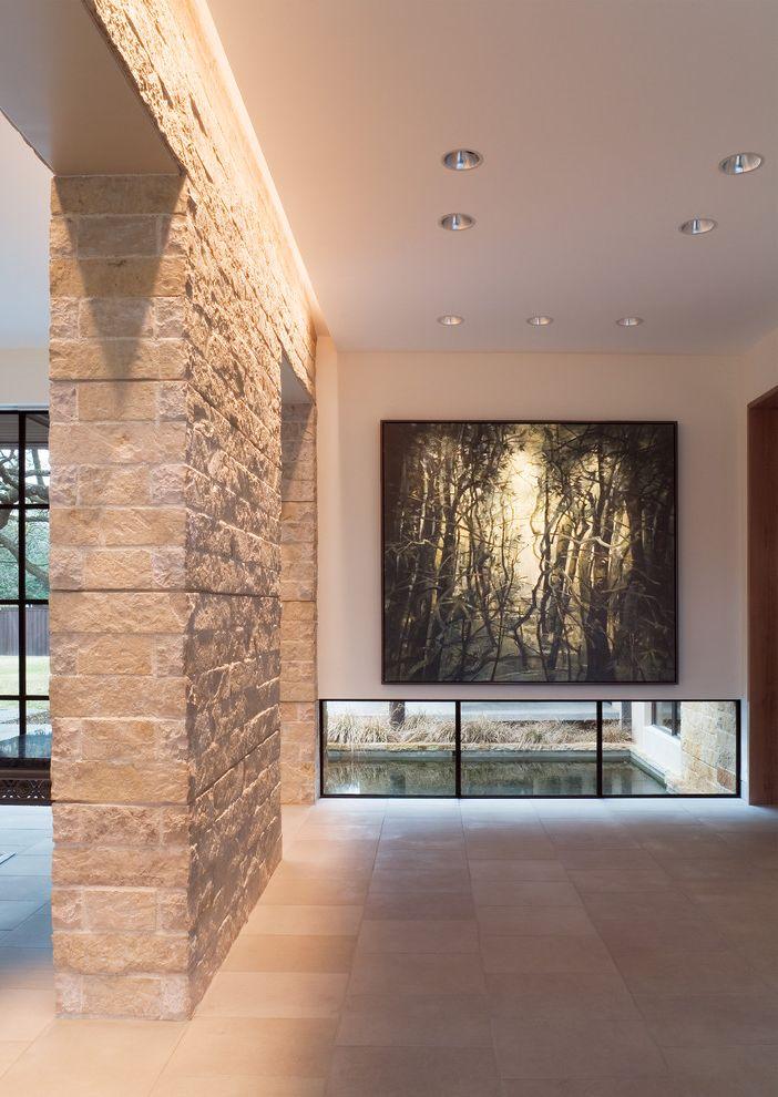 Lowes Enterprise Al   Modern Hall Also Aquatic Landscape Beige Brick Beige Tile Floor Contemporary Artwork Earth Tones Low Windows Modern Recessed Lighting Sandstone Stone Tan