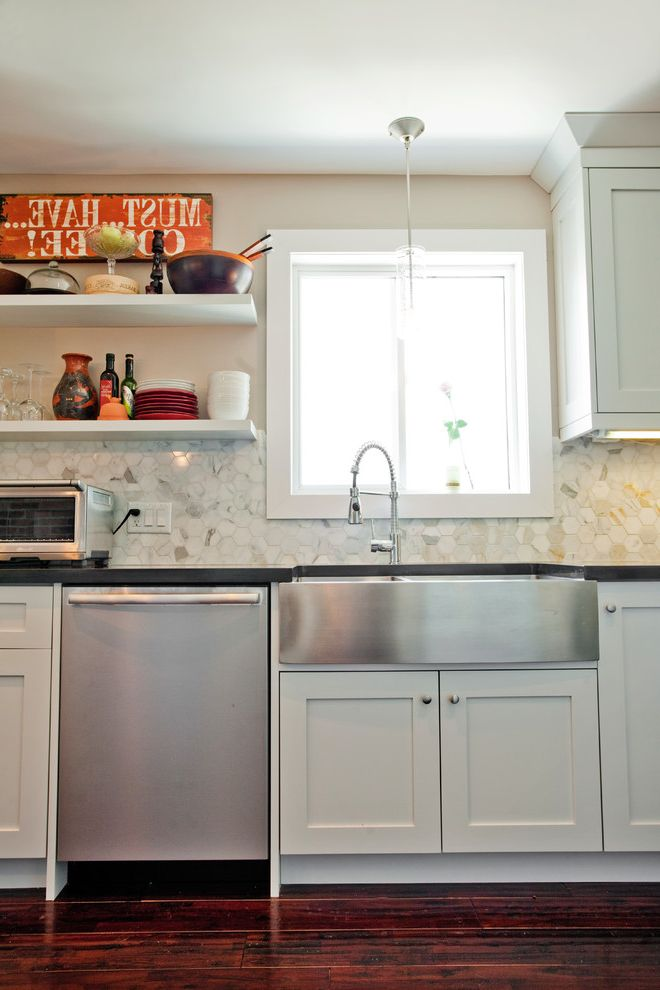 Lowes Farmhouse Sink   Eclectic Kitchen Also Black Granite Brick Wall Calacatta Backsplash Custom Cabinetry Farmhouse Sink Frosted Glass Doors Glass Hood Granite Island Grey Cabinets Hand Scraped Wood Floors Hexagon Backsplash Industrial Faucet Pendants