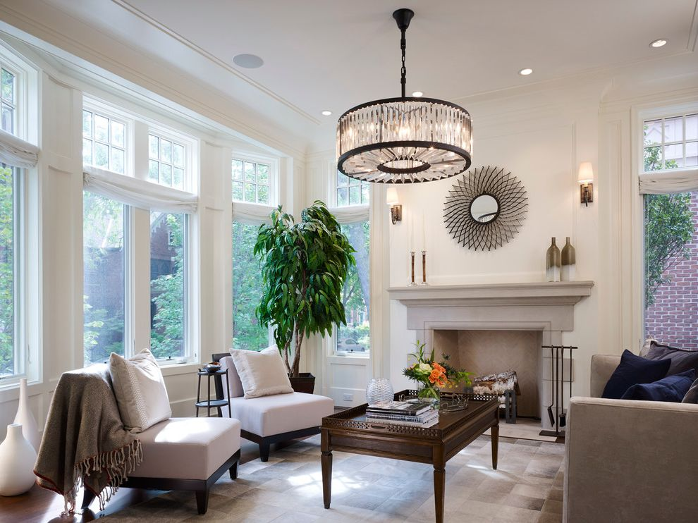 Lowes Fremont Ohio   Traditional Living Room  and Bay Window City Home Crystal Chandelier Fireplace Recessed Lighting Restoration Hardware Chandelier Stone Fireplace Townhome Townhouse Transom Windows
