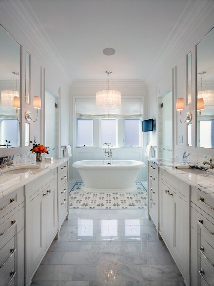 Lowes Fremont Ohio with Traditional Bathroom  and City Home Crown Molding Crystal Chandelier Freestanding Tub Marble Floor Mirrors Natural Lighting Pendant Chandelier Roman Shades Television Townhome Townhouse Tv