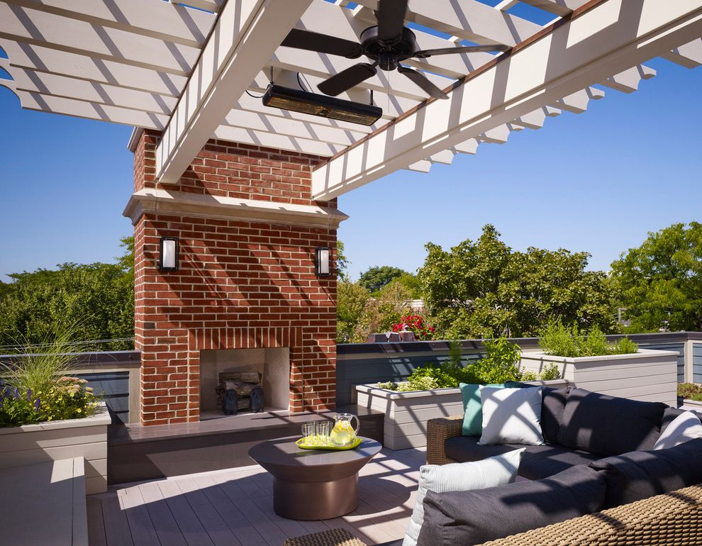 Lowes Fremont Ohio with Traditional Deck Also Brick and Limestone Built in Planter Ceiling Fan City Home Heater Infrared Heat Lamps Outdoor Fireplace Outdoor Seating Pergola Rooftop Deck Townhome Townhouse