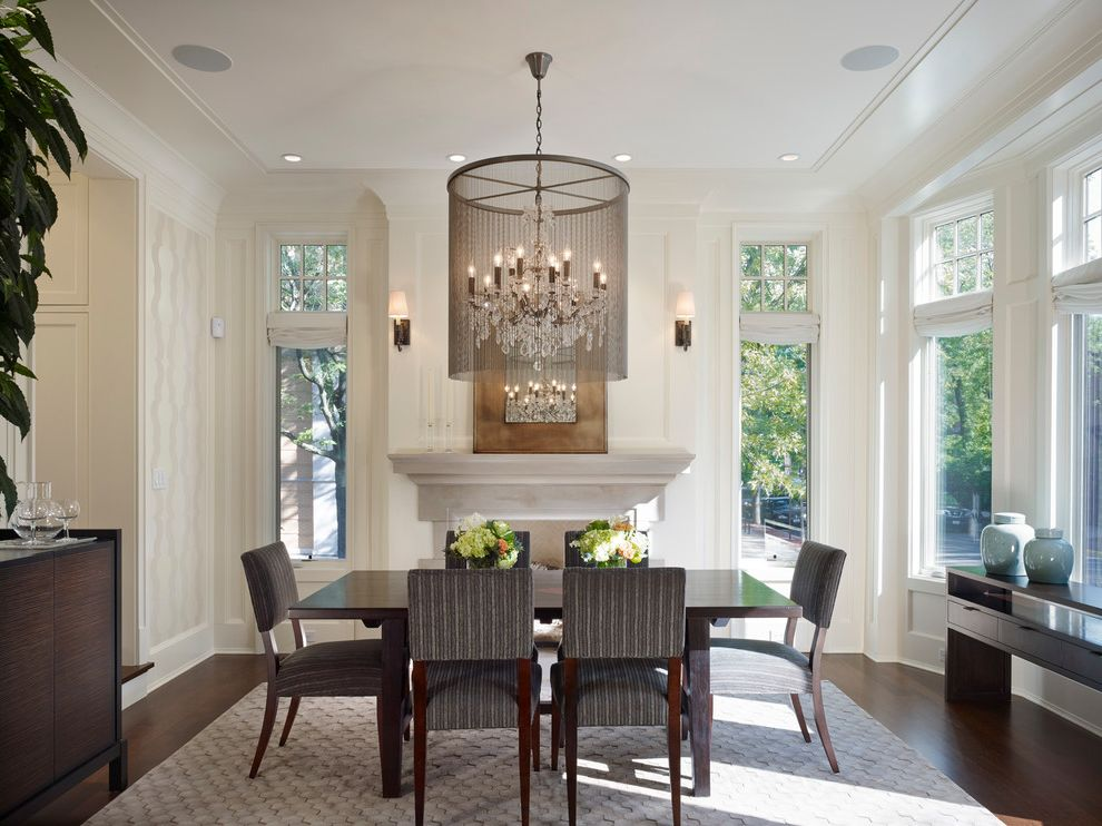 Lowes Fremont Ohio with Traditional Dining Room  and Bay Window City Home Limestone Fireplace Modern Crystal Chandelier Natural Lighting Recessed Lighting Restoration Hardware Chandelier Townhome Transom Windows Wall Paper