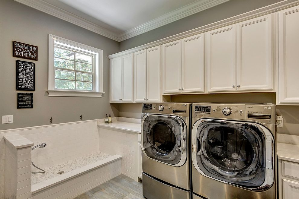 Lowes Gainesville Fl   Traditional Laundry Room  and Artwork Crown Molding Dog Washing Station Gray Floors Handshower Pet Shower Pony Wall White Countertop White Trim