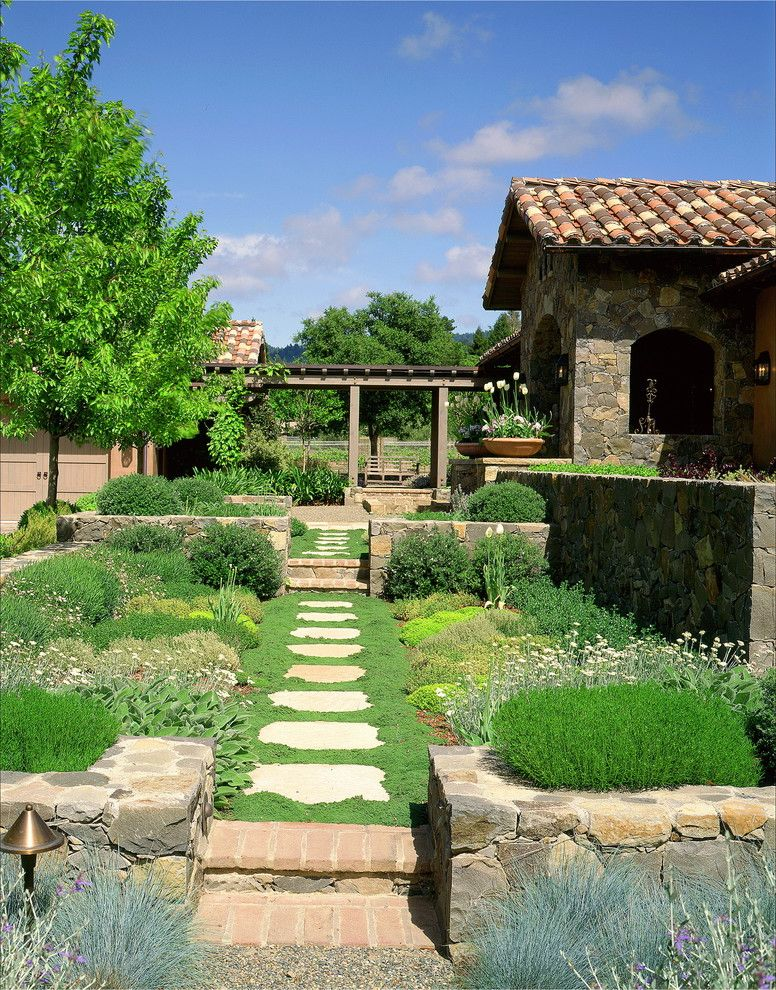 Lowes Garden City with Mediterranean Landscape Also Brick Edging Foliage Path Planting Between Pavers Raised Beds Shade Tree Steps Stone Wall Tile Roof Walkway