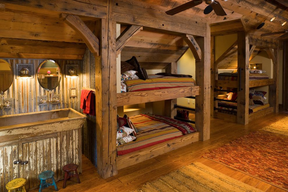 Lowes Hagerstown Md with Rustic Kids Also Bathroom Mirror Bedroom Built in Bed Bunk Beds Bunk Room Cabin Corrugated Metal Distressed Finish Hardwood Floors Lodge Rustic Design Shared Bedroom Step Stools Timber Accents Trough Sink Wood Floors