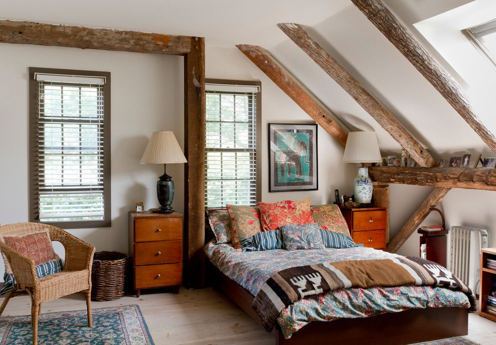 Lowes Hampton Va with Eclectic Bedroom  and Eclectic Exposed Beams Rough Hewn Wood Skylight Sloped Ceiling Ventian Blinds Wicker Chair