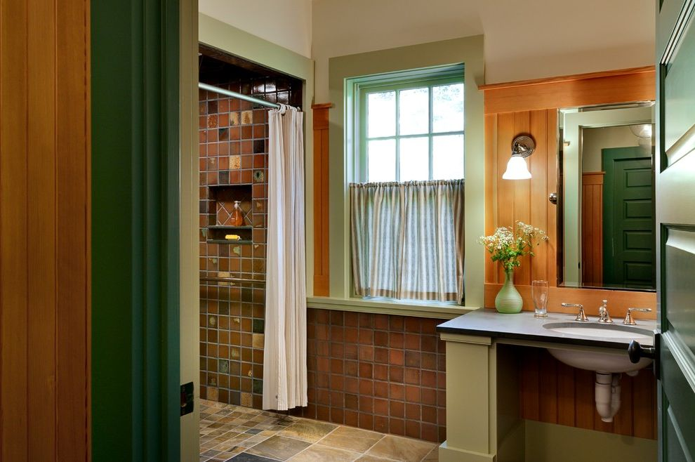 Lowes Hutchinson Ks with Rustic Bathroom  and Cafe Curtain Elegant Gracious Green Painted Wood Niche Oval Sink Panel Door Shower Curtain Tile Floor Tile Walls Tongue and Groove Vintage Wood Paneling
